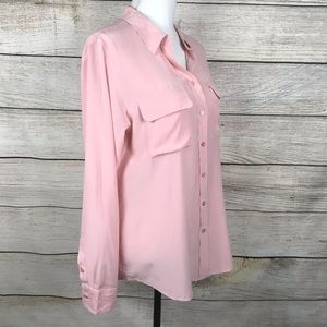 Equipment Femme 100% silk pink button down blouse